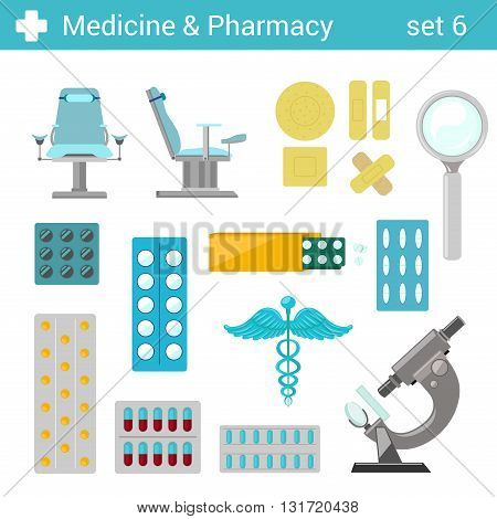 Flat style medical pharmaceutical hospital equipment icon set. Gynecologist seat, tablets pills, patches, microscope, caduceus. Medicine pharmacy collection.