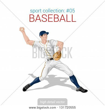 Sportsmen vector collection. Baseball pitcher infielder. Sportsman high detail illustration.