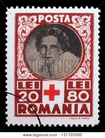 ZAGREB, CROATIA - JULY 19: a stamp printed in Romania shows Queen Helene for Red Cross, circa 1945, on July 19, 2012, Zagreb, Croatia