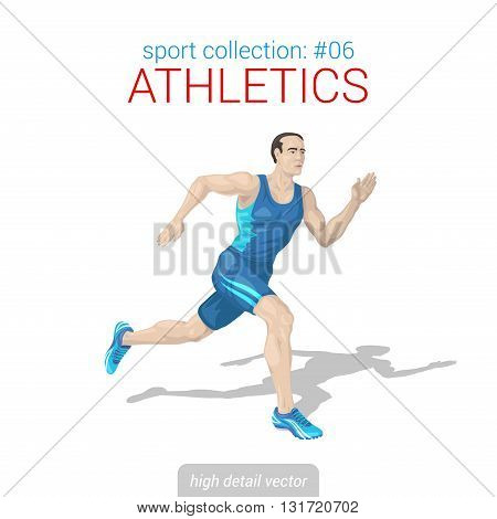 Sportsmen vector collection. Runner man athlete sprinter. Sportsman high detail illustration.