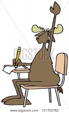Illustration of a bull moose seated at a student desk and raising his arm with a question.