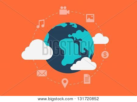 Flat vector globalisation cloud social content abstract concept