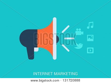 Flat design vector internet online marketing smm smo concept