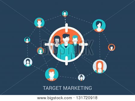 Flat design vector illustration marketing targeting concept