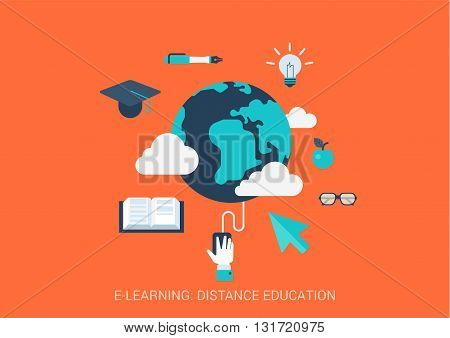 Flat vector e-learning distance education course study concept