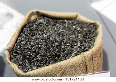 Sack of sunflower seeds