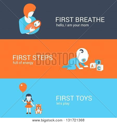 Family parenting first steps concept flat icons set mother baby