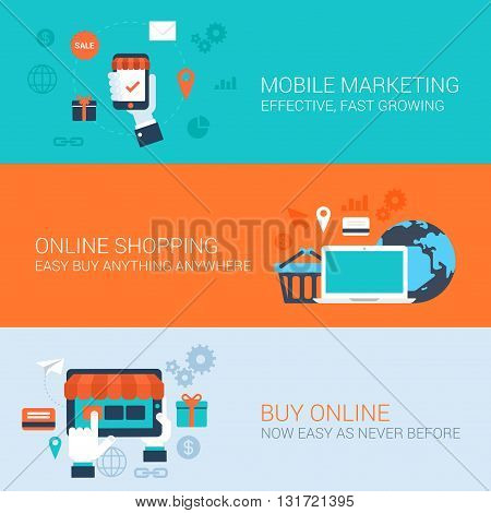 Business concept flat icons set mobile marketing online shopping