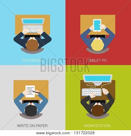 Business workplace concept flat icons set laptop tablet
