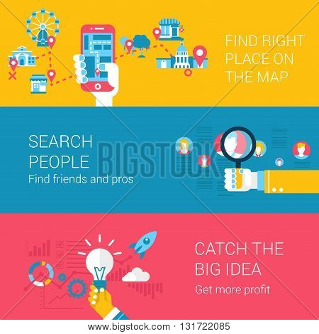 Search navigation infographics concept flat icons set of find place
