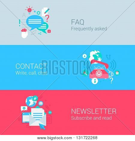 Online support infographics concept flat icons set FAQ contact