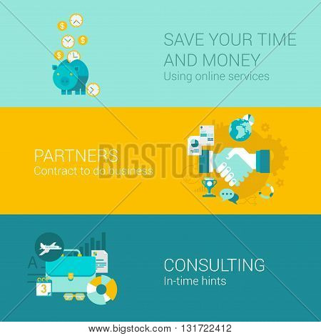 Business money finance infographics concept flat icons set piggy