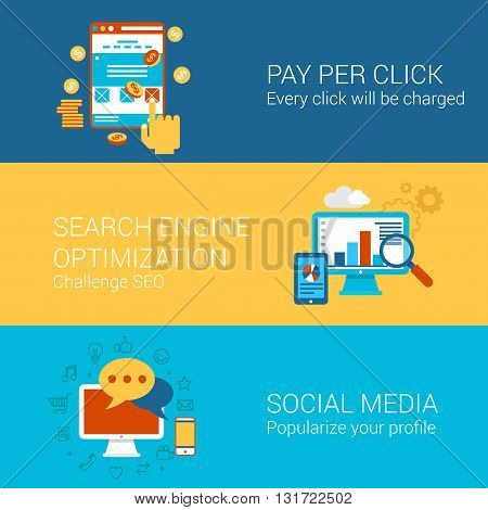 SEO SMM online advertisement concept flat banners icons set