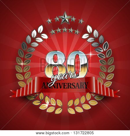 Celebrative Golden Frame for 80th Anniversary. Anniversary Ring with Red Ribbon. Anniversary Festive Celebration Emblem. Vector Illustration for Anniversary Celebration Design