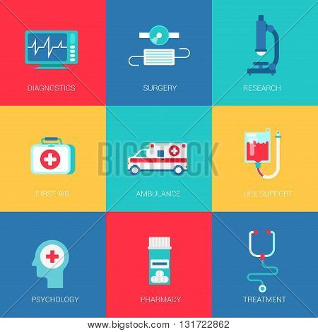 Flat medicine healthcare design icons set diagnostics surgery research