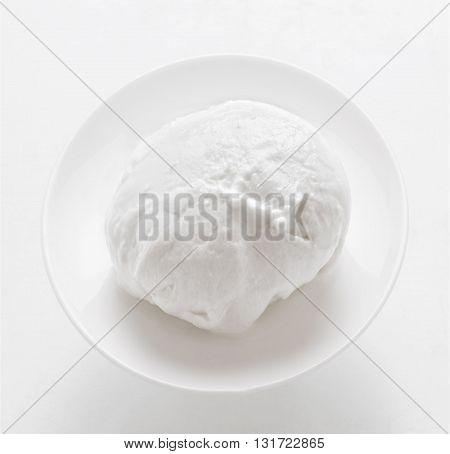 close up of fresh italian buffalo mozzarella cheese