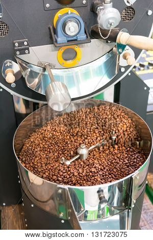 Coffee beans and machine