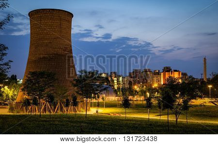 Turin (Torino) Parco Dora with former plant cooling tower