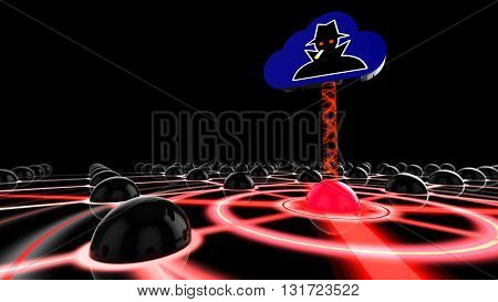 Network made of black spheres with one red infected node connected to a cloud symbol with a hacker logo 3D illustration
