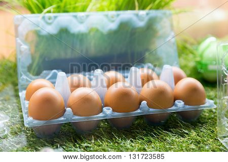 Eggs in plastic container