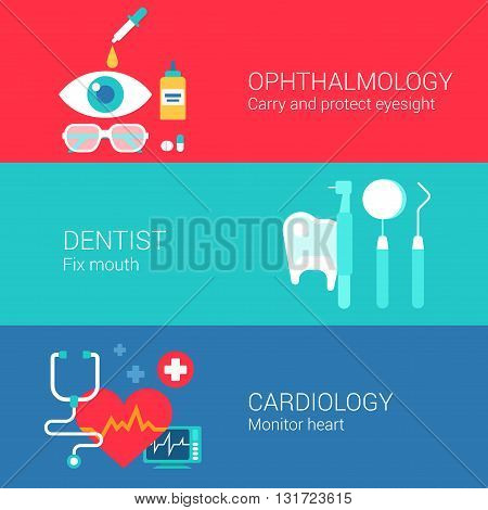 Medical ophthalmology dentist cardiology concept flat icons set of eye sight carry tooth monitor heart vector web banners illustration print materials website click infographics elements collection.