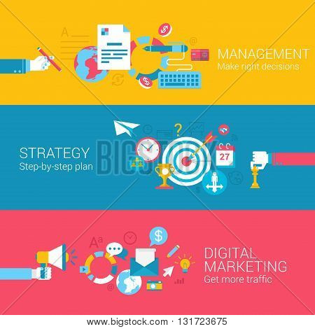 Digital marketing strategy management concept flat icons set of decision plan traffic and vector web banners illustration print materials website click infographics elements collection.
