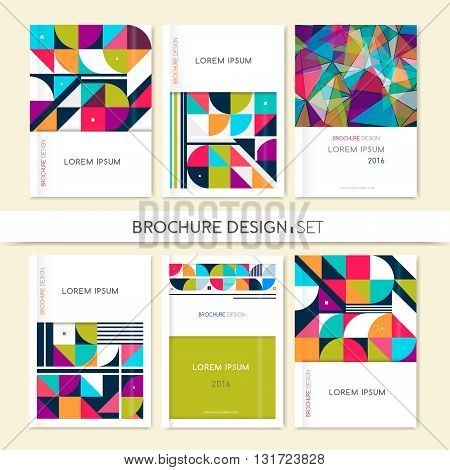 Collection Cover design for Brochure leaflet flyer. Abstract geometric background. Pink orangewhite gray triangle squares and circles. A4 size. Vector EPS 10