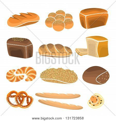 Bread product set. Bakery shop elements and bakery showcase. Bakery items in flat style. Vector Illustration