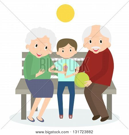 Senior people happy leisure time with grandson. Happy Grandparents with little grandson. Vector illustration