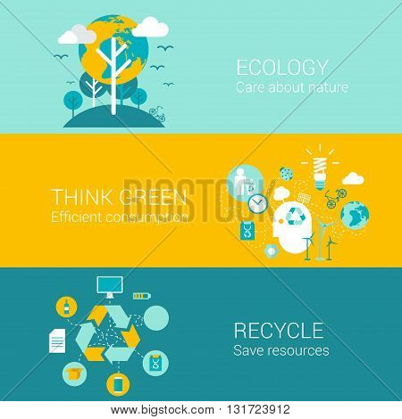 Ecology green recycle concept flat icons set of care nature efficient consumption recycling resource and vector web banners illustration print materials website click infographics elements collection.
