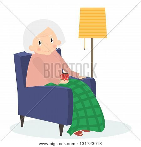 Grandmother sitting in armchair. Old woman leisure time. Grandma reading drink tea. Cute senior woman at home. Vector illustration.