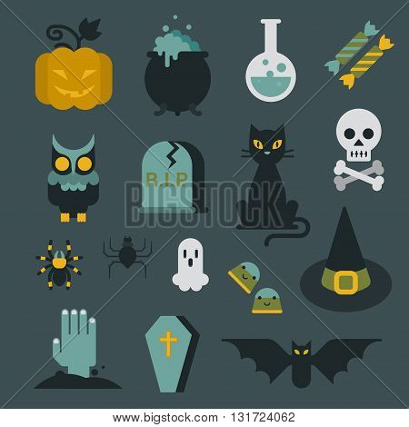 Halloween flat icon set modern style creative design template collection. Bat spider wizard skull pumpkin cat poison grave eye gift box candle coffin owl.