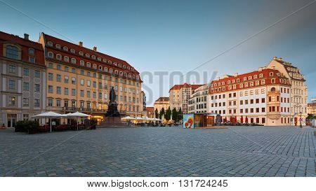 DRESDEN, GERMANY - MAY 14, 2016: Neumarkt square in the old town of Dresden, Germany on May 14, 2016.
