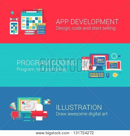 App development code programming concept flat icons set of coding designing testing debugging drawing and vector web banners illustration print materials website click infographics elements collection.