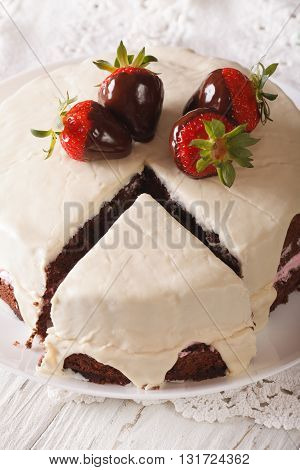 Tasty White Chocolate Cake With Fresh Strawberries Close-up. Vertical