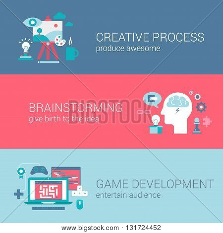 Game development concept flat icons set of creative process brainstorming idea and vector web banners illustration print materials website click infographics elements collection.