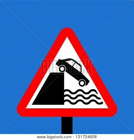 Warning triangle Quayside or river bank traffic sign