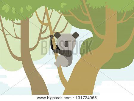 Koala flat design cartoon vector wild animals tree branch forest