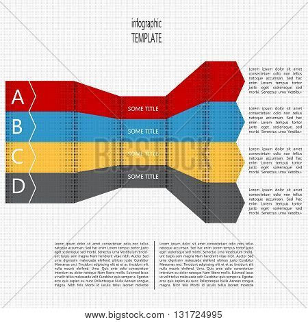 Four steps timeline perspective diagram. Four folded arrows in four colors. Place for text within shape and outside of shape. Vector illustration.