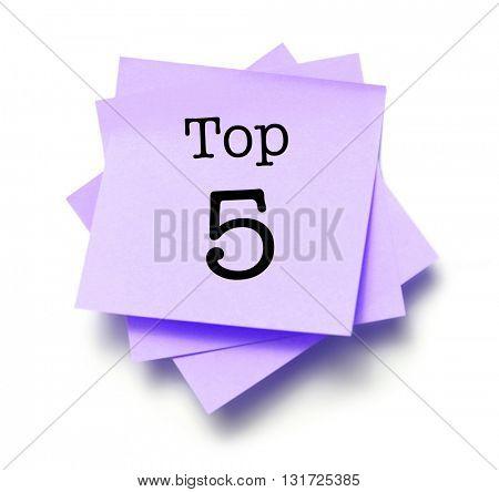 Top 5 written on a note
