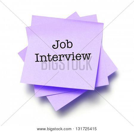 Job Interview written on a note