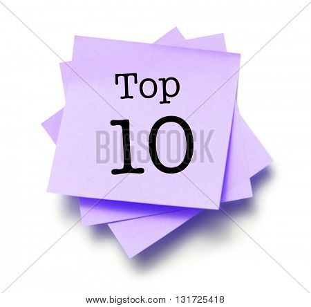 Top 10 written on a note