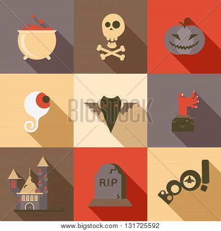 Halloween flat icon set poison skull eye bat zombie hand grave