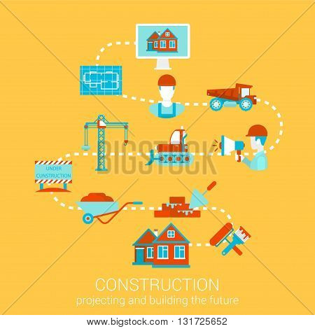 Flat style vector illustration construction infographics concept