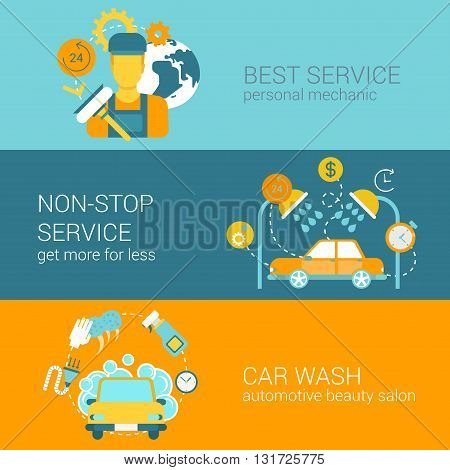 Car repair service and wash flat style web infographics template