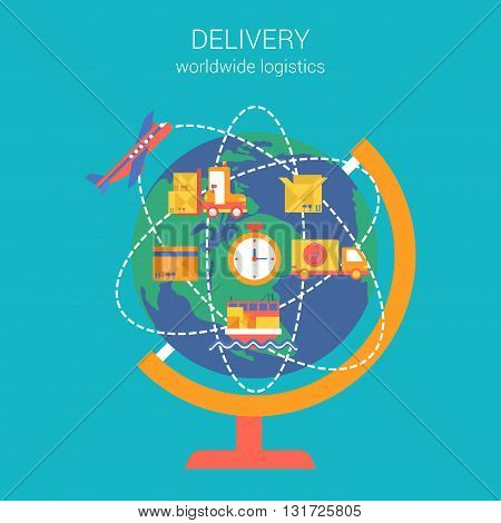 Flat style design vector worldwide global delivery concept
