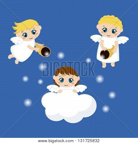 Little angels with stars and cloud. Cartoon vector illustration.