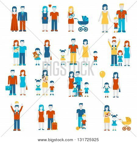 Family flat style people parents children infographics icons set