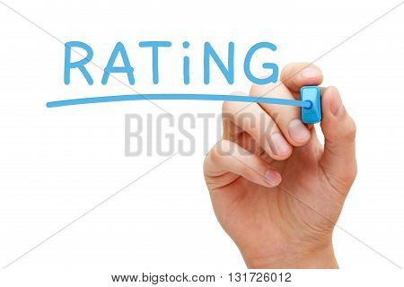 Hand writing Rating with blue marker on transparent wipe board.