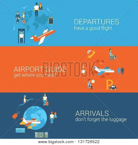 Flight tickets booking departure arrival concept flat